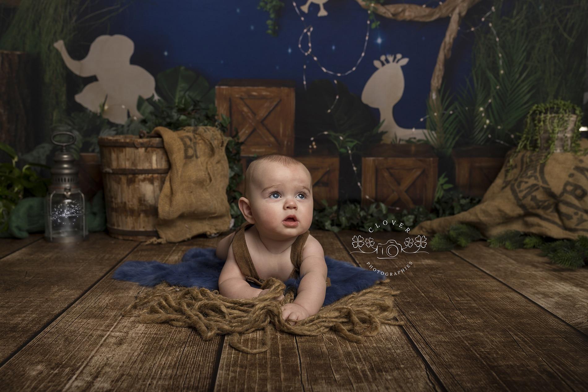 séance photo bébé strasbourg thème jungle - clover photographies