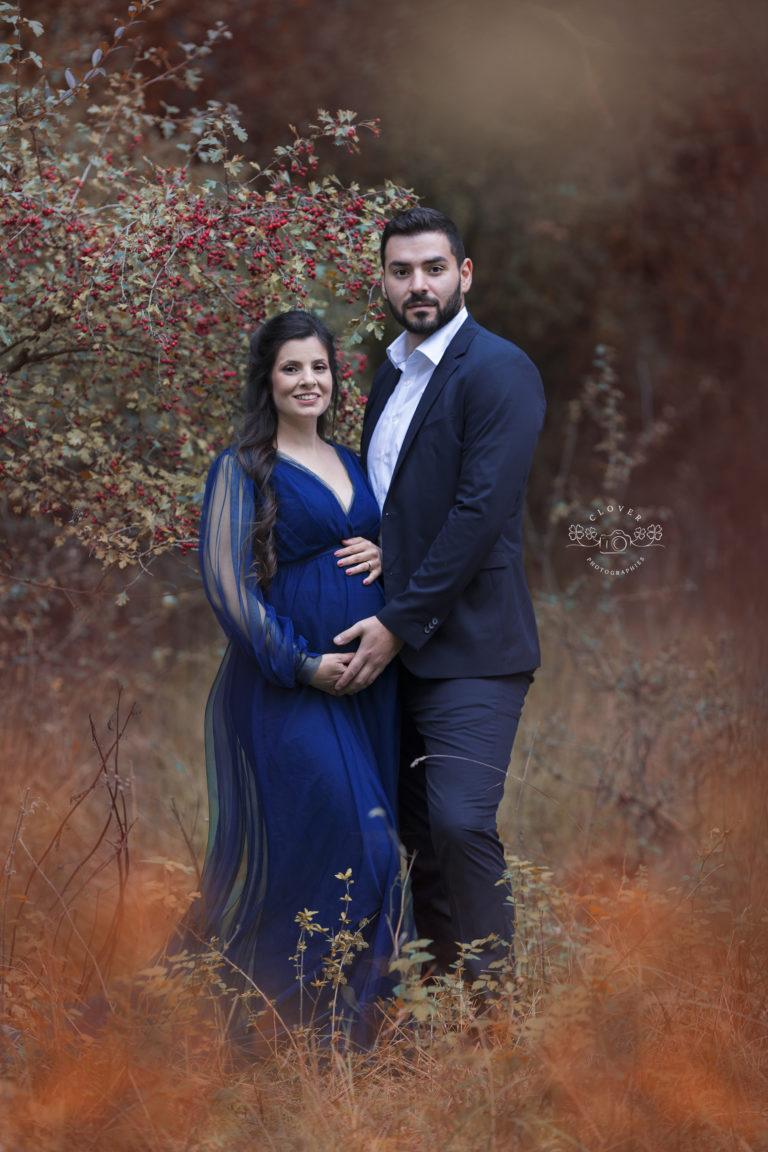 séance photo grossesse en forêt automne - Clover Photographies